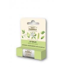 Green Pharmacy hydratačný balzam na pery aloe a limetka 3,6 g