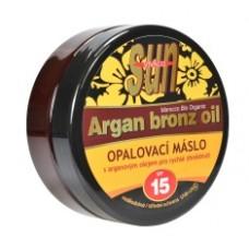 SUN Argan oil opaľovacie maslo SPF 15 s arganovým olejom pre rýchle zhnednutie 200ml